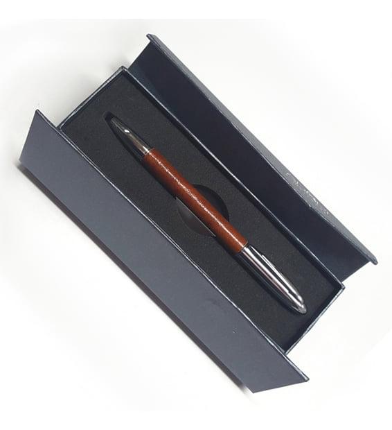 Genuine Kangaroo Leather Australian Made Gift Pen - Tan in Box