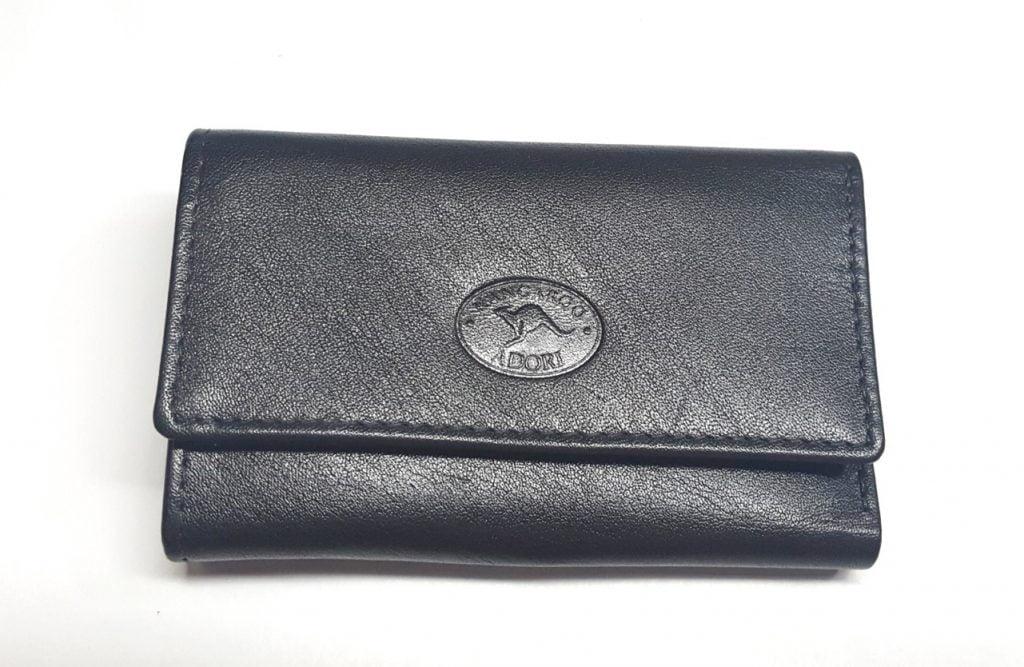 Black Kangaroo Leather Key Case - Front View