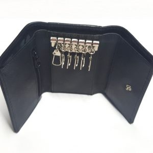 Black leather key case wallet