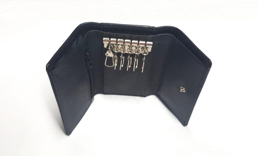 Australian Made Black Kangaroo Leather Key Case - Open View