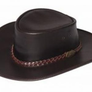 Jacaru Swagman Brown Genuine Australian Made Leather Hat