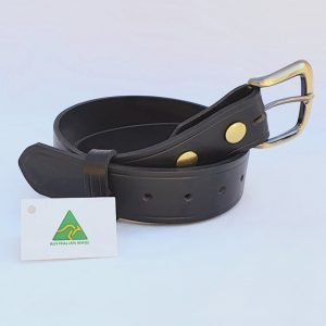 "1.5"" (38mm) Genuine All Leather Black Belt Made in Australia"