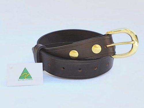 """1.5"""" (38mm) Genuine All Leather Belt Made in Australia - Brown"""