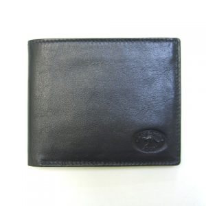 Genuine Australian Made Men's Wallet with Coin Pockets - Black - Front View