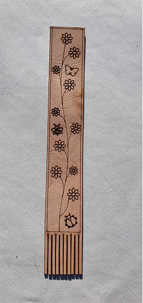 Real Leather Bookmark - Floral