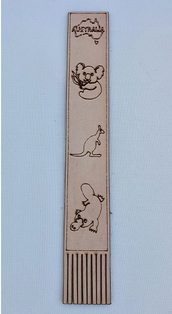 Real Leather Bookmarks Made in Australia - Koala Kangaroo Platypus Design