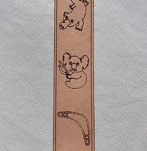 Genuine Leather Bookmark - Australia Platypus Koala Boomerang
