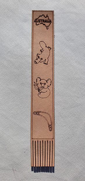 Real Leather Bookmarks Made in Australia - Platypus Koala Boomerang Design