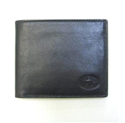 Genuine Black Leather Adori Men's Wallet - Front View