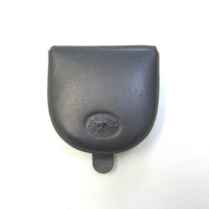 Genuine leather black flip up coin purse