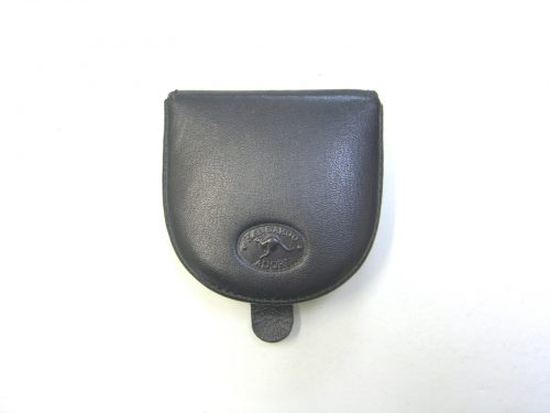 Genuine leather black flip up coin purse