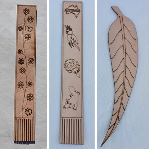 Genuine leather bookmark set of three
