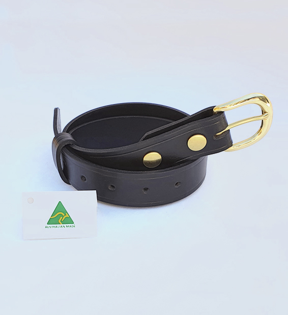 Genuine Australian Made All Leather Belt – 1.25″ (32mm) - Black