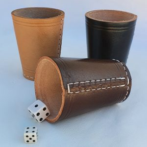 Real Leather Dice Cups - Hand Made Stitched Natural Leather Gifts