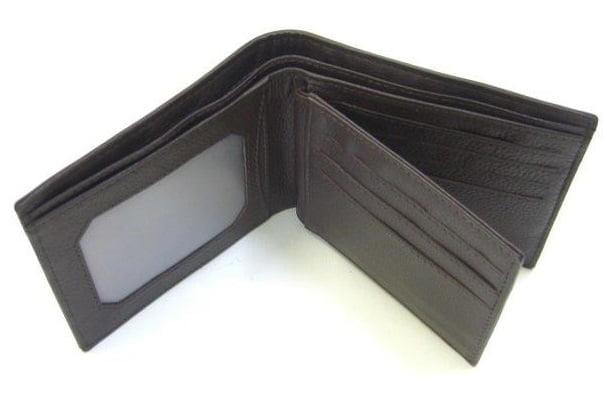 Adori Kangaroo Leather Men's Wallet with ID Slot - Brown - Open View