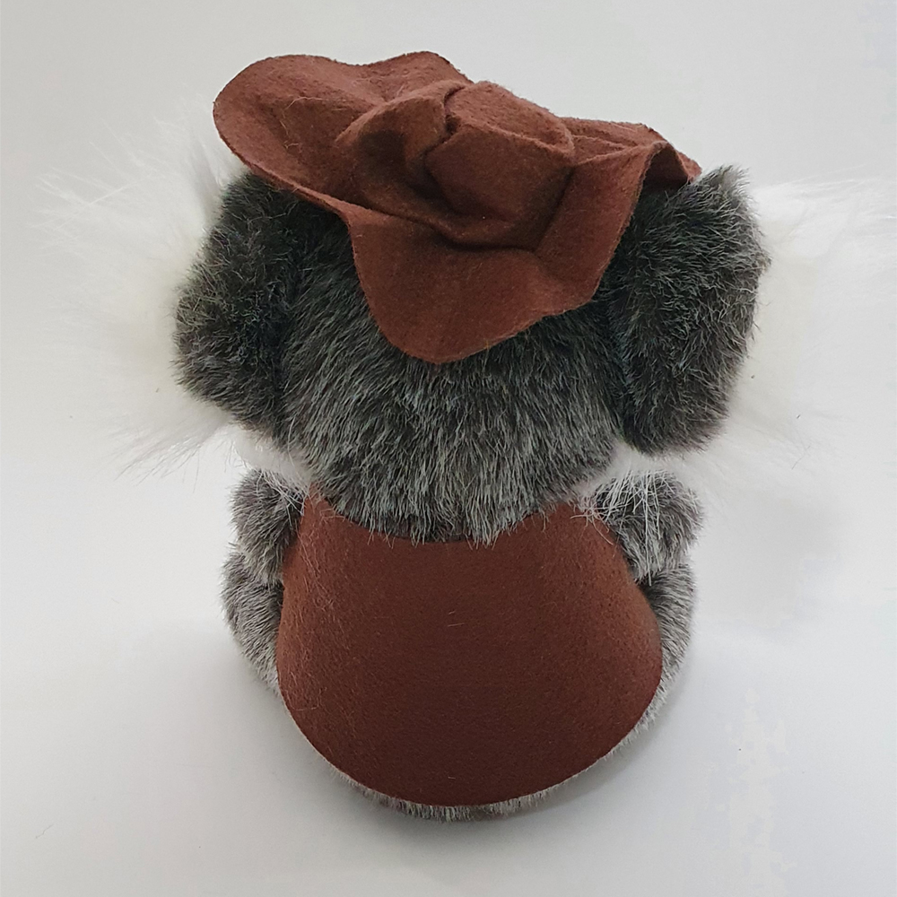 Australian Made Swaggie Koala Plush Toy with Vest (Back View)