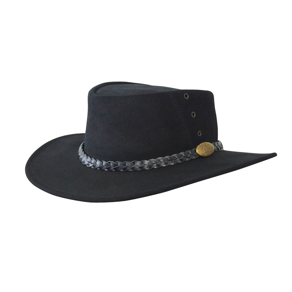 Jacaru Kookaburra Black Genuine Australian Made Leather Hat