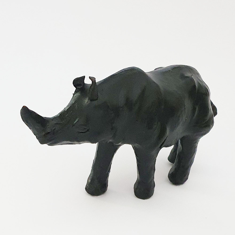 Standing Leather Rhino Toy Made in Australia