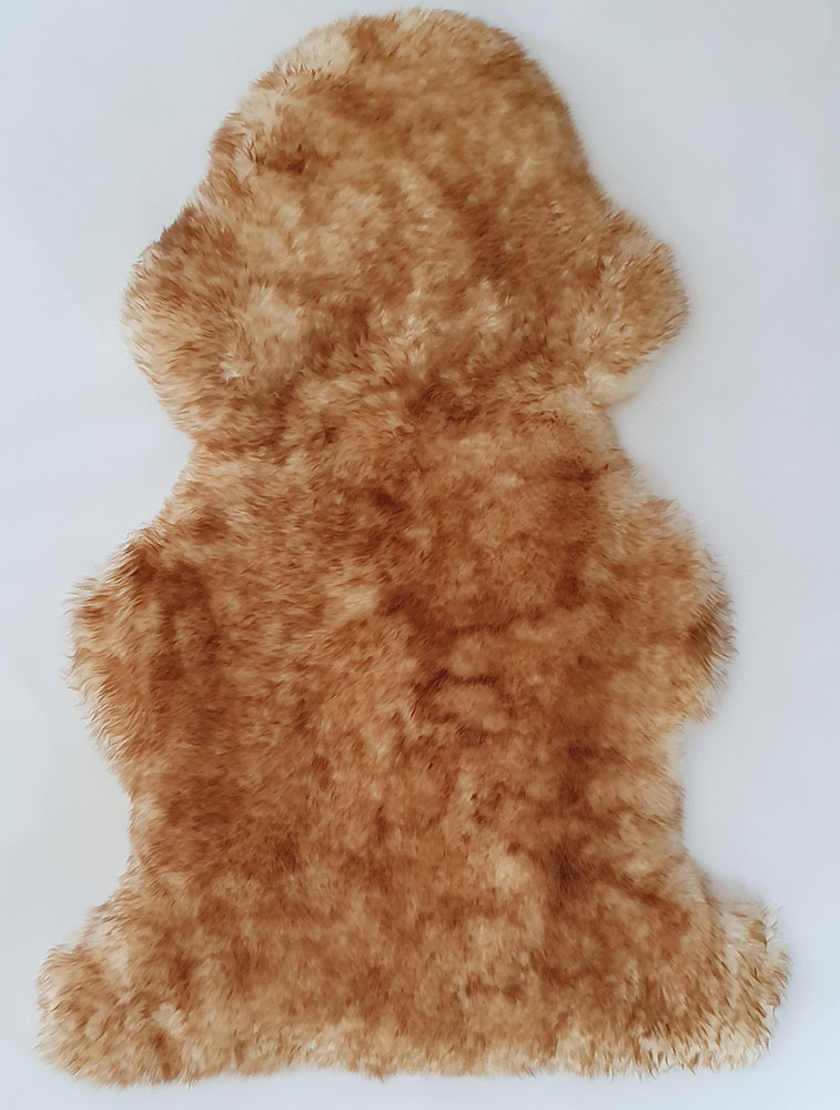 Beige with Brown Tips Long Wool Premium Sheepskin