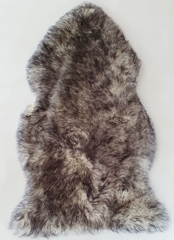 Wolf Ivory With Black Tip Long Wool Premium Sheepskin